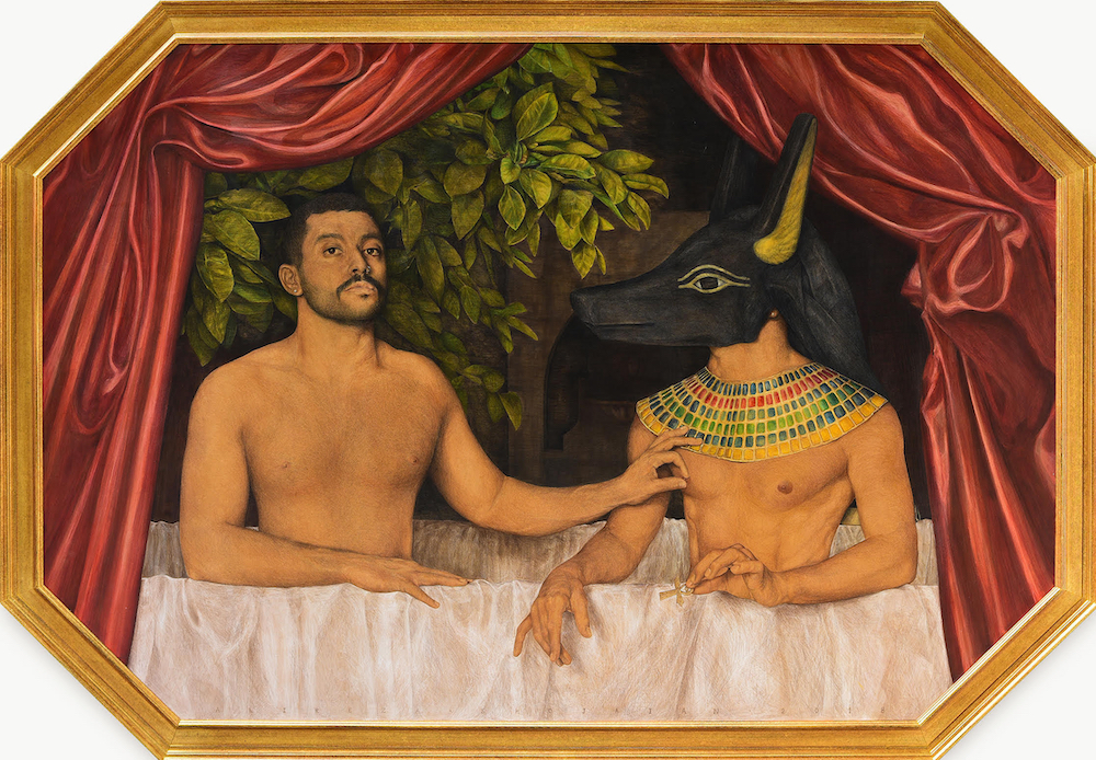 painting of shirtless Hamed Sinno sitting next to the Egyptian god of war Set, pinching his right nipple