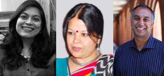 headshots of Sadia Abbas, Charu Gupta, & Nayan Shah