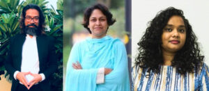 headshots of Sumit Baudh, Sameena Dalwai, & Thenmozhi Soundararajan