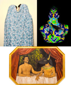 a collage of three works of art by each of the three panelists