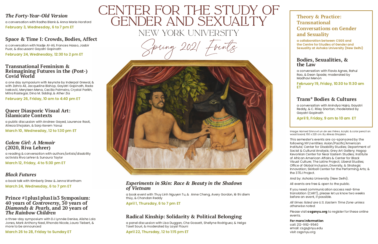 spring 2021 calendar of events for the Center for the Study of Gender and Sexuality at New York University