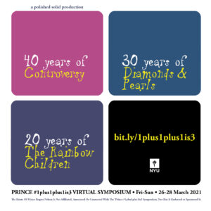 flyer for Prince 1plus1plus1is3 Symposium, four squares, each containing parts of the entire event title