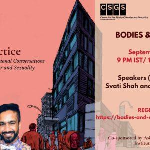 flyer for Bodies & Spaces featuring portraits of Svati Shah & Dhiren Borisa