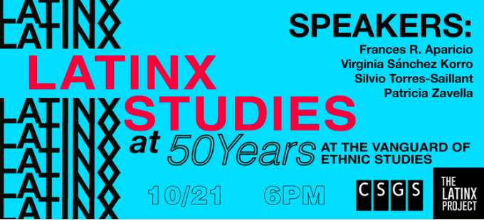 text only flyer of Latinx Studies at 50 event